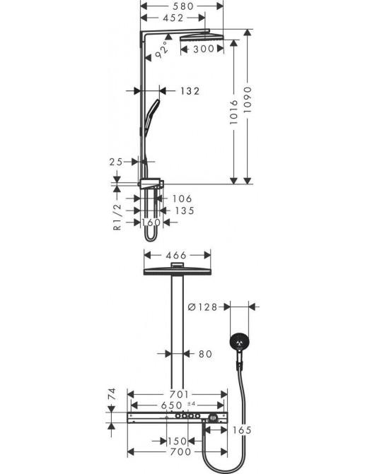 Hansgrohe Rainsmaker Select 460 3jet Showerpipe, Masszeichnung