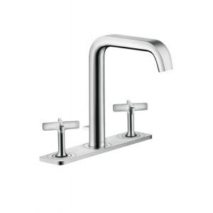 Citterio 3-Loch Waschtischarmatur 170 mit Platte und Zugstangen-Ablaufgarnitur