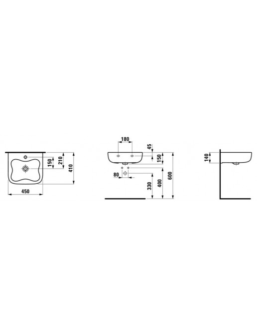 Laufen Florakids Handwaschbecken 450 x 410mm, mit Überlauf Skizze