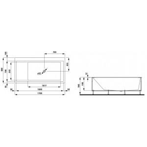 Kartell by Laufen Einbau-Badewanne, Masszeichnung