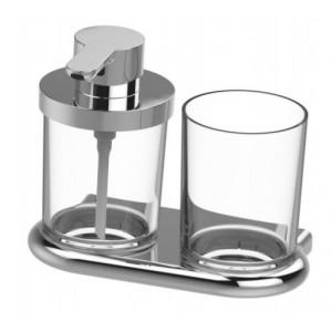 Bodenschatz NIA Set Seifenspender mit Glas klar